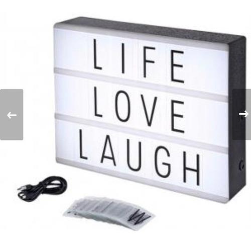 luminária light box led + 96 letras números ícones grande