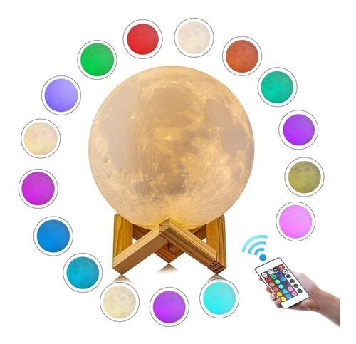 luminária lua cheia 3d abajur usb/touch control 18cm 16cor