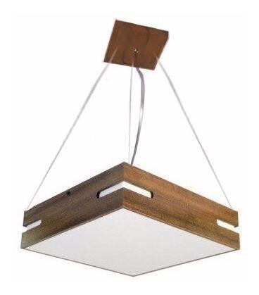 luminária lustre pendente madeira 50x50 de teto quadrada