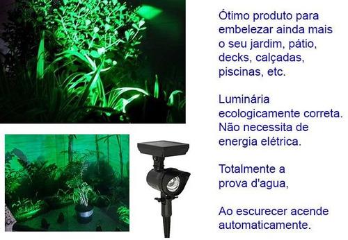 luminária luz verde kit solar spot super led jardim promoção