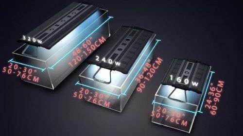 luminária maxspect razor recurve 160w 60 a 90cm c nfe