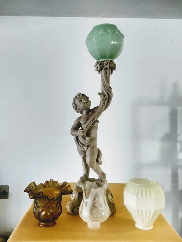 luminária mesa coluna antiga querubim tocheiro pó  mármore