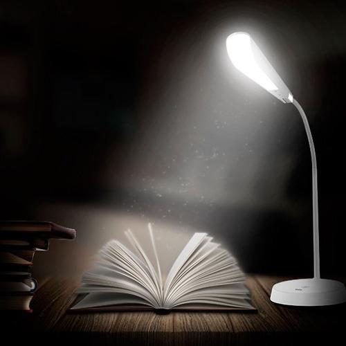 luminária mesa solver led touch slim estudo haste flexível
