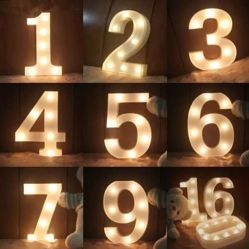 luminária número 3d led luminoso decoração decorativa/festas