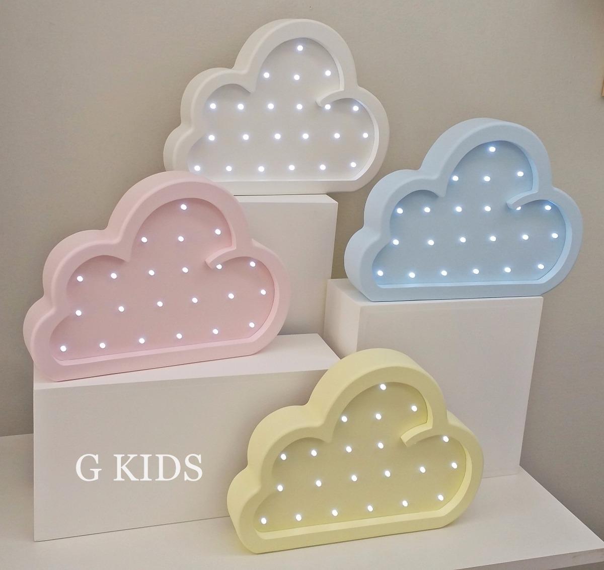 Lumin Ria Nuvem Led Para Quarto De Beb Em Mdf R 259 00 Em  ~ Luminaria A Pilha Para Quarto E Pintura De Quarto De Bebê