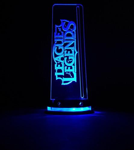 luminária p/ pc gamer league of legends c/ led liga na fonte