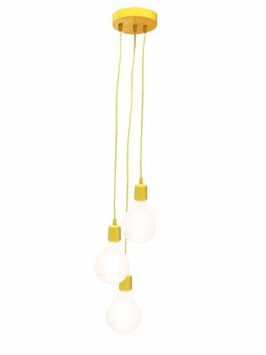 luminária pendente 3 cabos fio 3 lampadas retro vintage