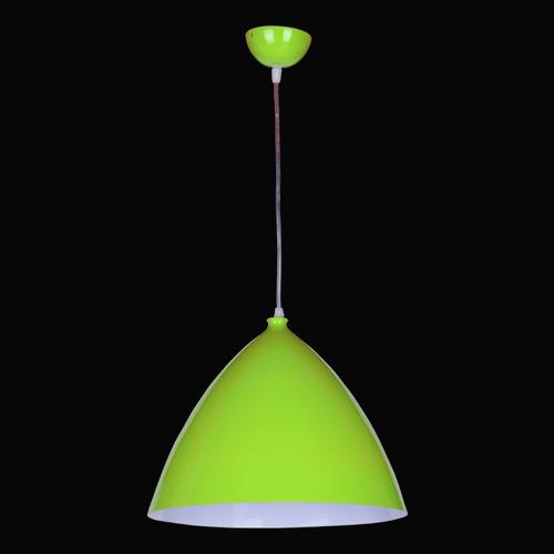 luminaria pendente aluminio bi-color verde e dentro branco