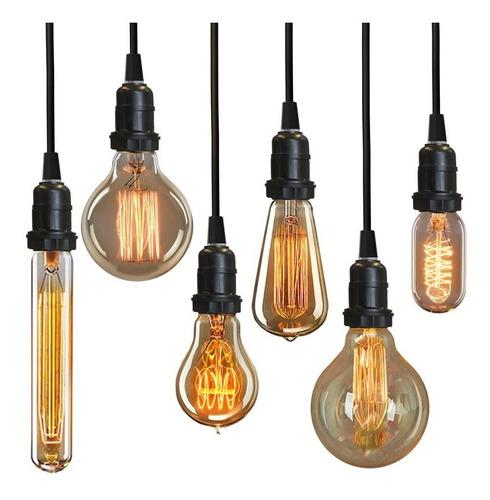 luminária pendente + cabo preto 3m + lâmpada vintage retro