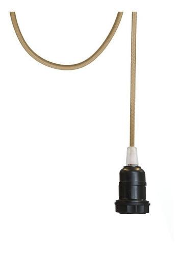luminária pendente com cabo em tecido colorido 1metro - e-27