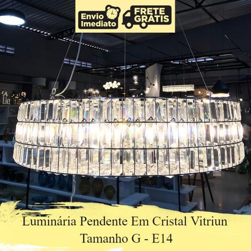 luminária pendente cristal vitriun decor g e14 30% desconto