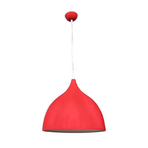 luminaria pendente gota 35cm vermelho e27 aluminio lustre