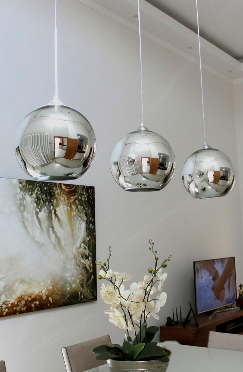 Luminaria Pendentes Bola Cromada Vidro Espelhado 30cm E27 R 266