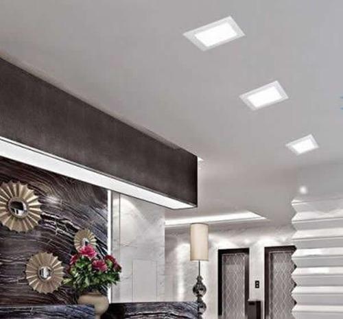 luminária plafon led 18w embutir quadrada