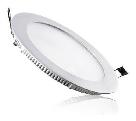 luminária plafon painel led 6w redondo embutir branco frio