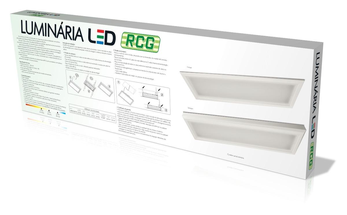 Lumin Ria Retangular Plafon Led De Sobrepor 6000k 34w Rcg R 114