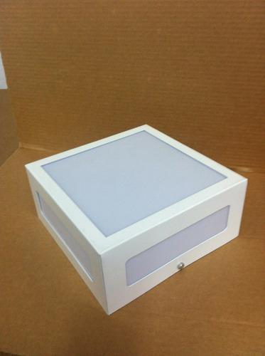 luminária sobrepor 20x20 2 lâmpadas vazada c/ acrlico alumio