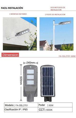 luminaria solar 60w la original de 6000 lumines