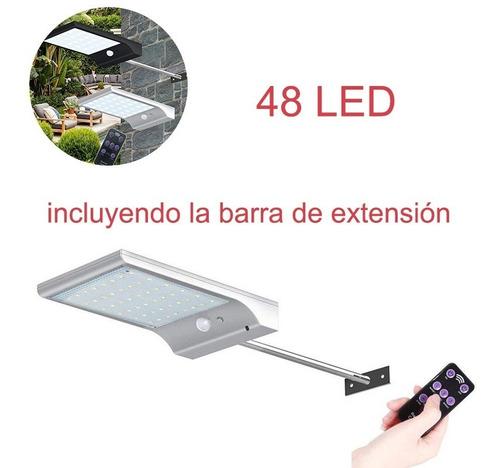 luminaria solar con 48 luces led white con barra d/extensión