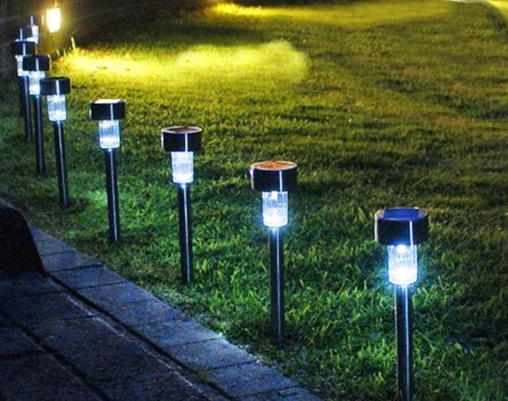 Lumin ria solar decora o jardim l mpada led luz kit com 4 - Luz jardin solar ...