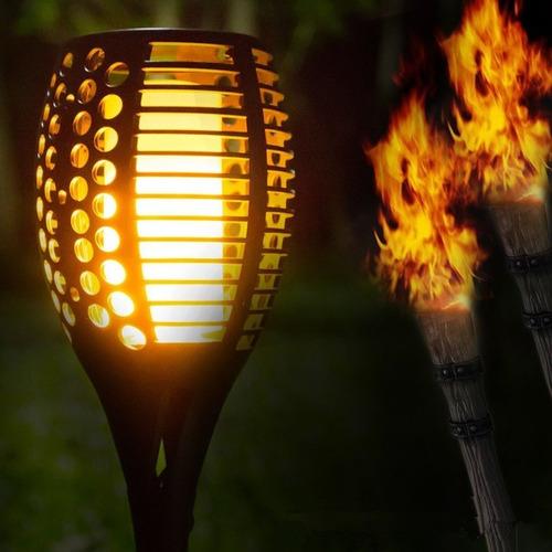 luminária solar jardim poste solar fogo chama tocha