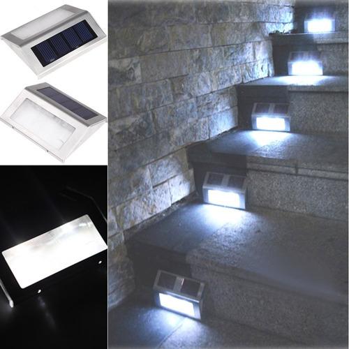 luminária solar para escada 2 leds aço inox novos