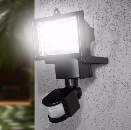 luminaria solar parede 60 led sensor presença 12 mt refletor