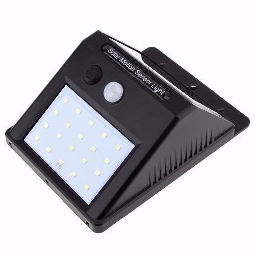 luminária solar sensor movimento 20 leds luz noturna