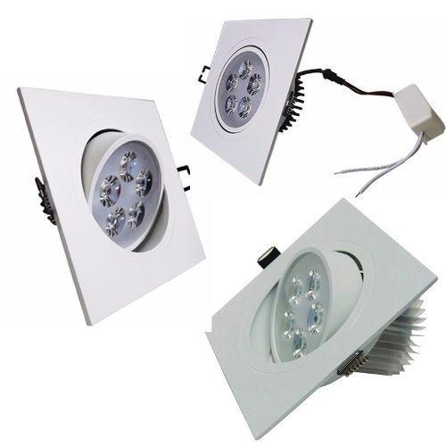 luminária spot led 5w - quadrada - com ajuste angular