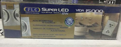 luminária superled 12w double 3000k bivolt flc