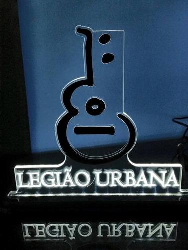 luminária/abajur acrílico 6mm com led - bandas legião urbana