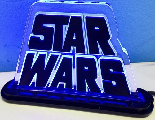 luminária/abajur em acrílico 10mm com led - star wars