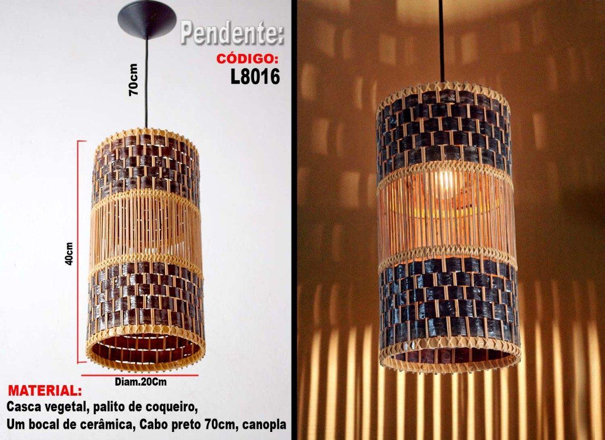 Lumin Rias Artesanais Lustre Pendente L8016 R 69 00 Em Mercado  -> Lustres Para Sala Artesanal