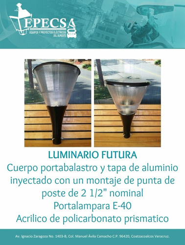 luminario alumbrado publico futura