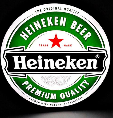 luminoso decorativo cerveja heineken com led e fonte 37cm