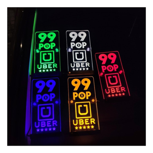 luminoso placa usb uber 99pop led acrílico kit com dois