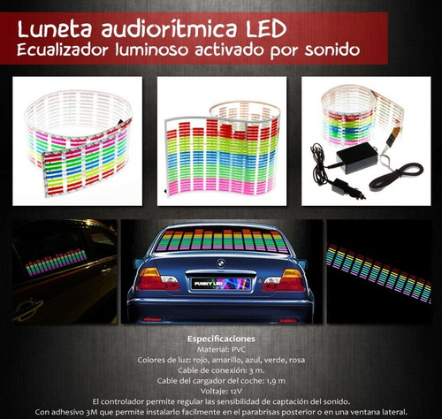 luneta audioritmica led,ecualizador audioritmico 114 x 30 cm