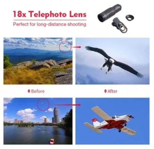 luneta lente zoom hd 18x celulares camera monóculo