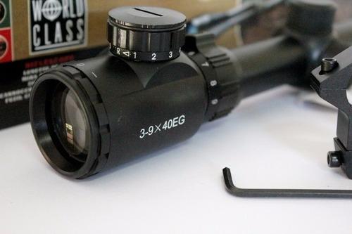 luneta mira 3-9x40 ret. iluminado longo alcance 11mm