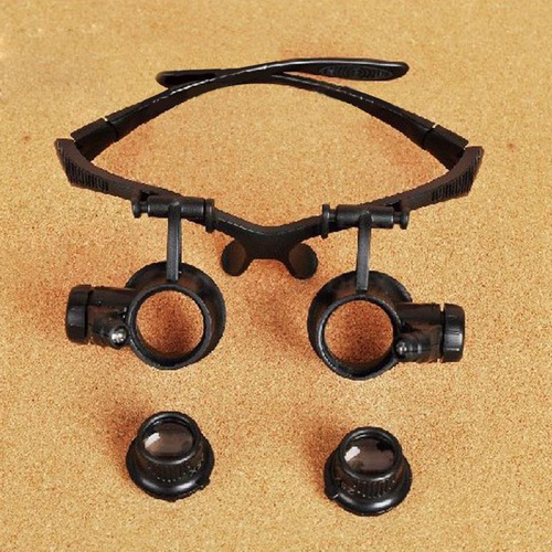 lupa 20x gafa , lente de aumento luz led.
