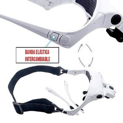 lupa anteojo visor con led aumento 1 a 3.5x con 5 lentes obi