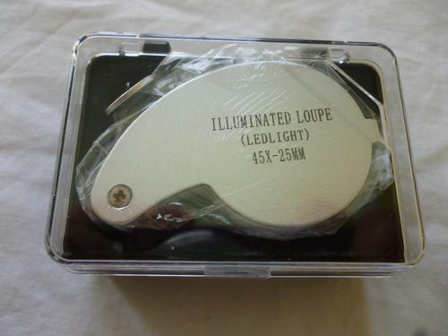 lupa aumento 45x - 25mm iluminacion led alta visibilidad