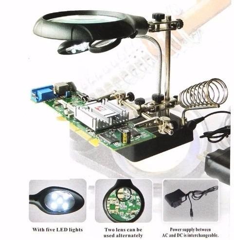 lupa c/ lente de aumento p/ bancada eletrônica mesa zoom 10x