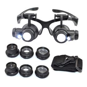 Lupa Cabeça Óculos 8 Lentes Aumento 2 Leds Para Ourives