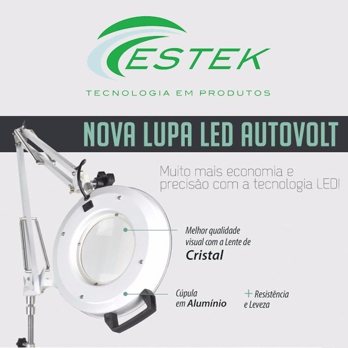 Lupa Com Luminária Led Estek Para Estética Com Apoio De Mesa - R ... 553acf54b1