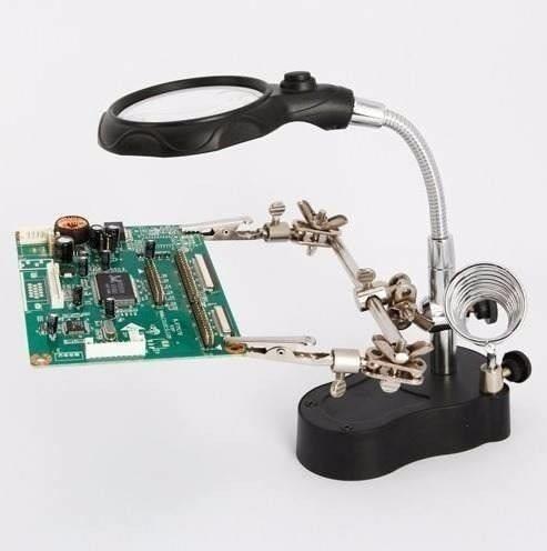 lupa con luz led pinzas base para cautín reparar iphone envi