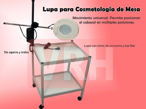 lupa cosmetología 130mm luz led para adosar en la mesa