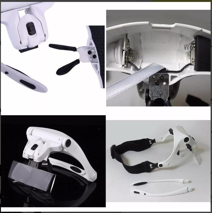 6149115ff Lupa De Aumento Para Cabeça Oculos 5 Tipos Lentes E Luz Led - R$ 41 ...