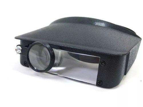 lupa de cabeça com 3 lentes de aumento viseira testeira