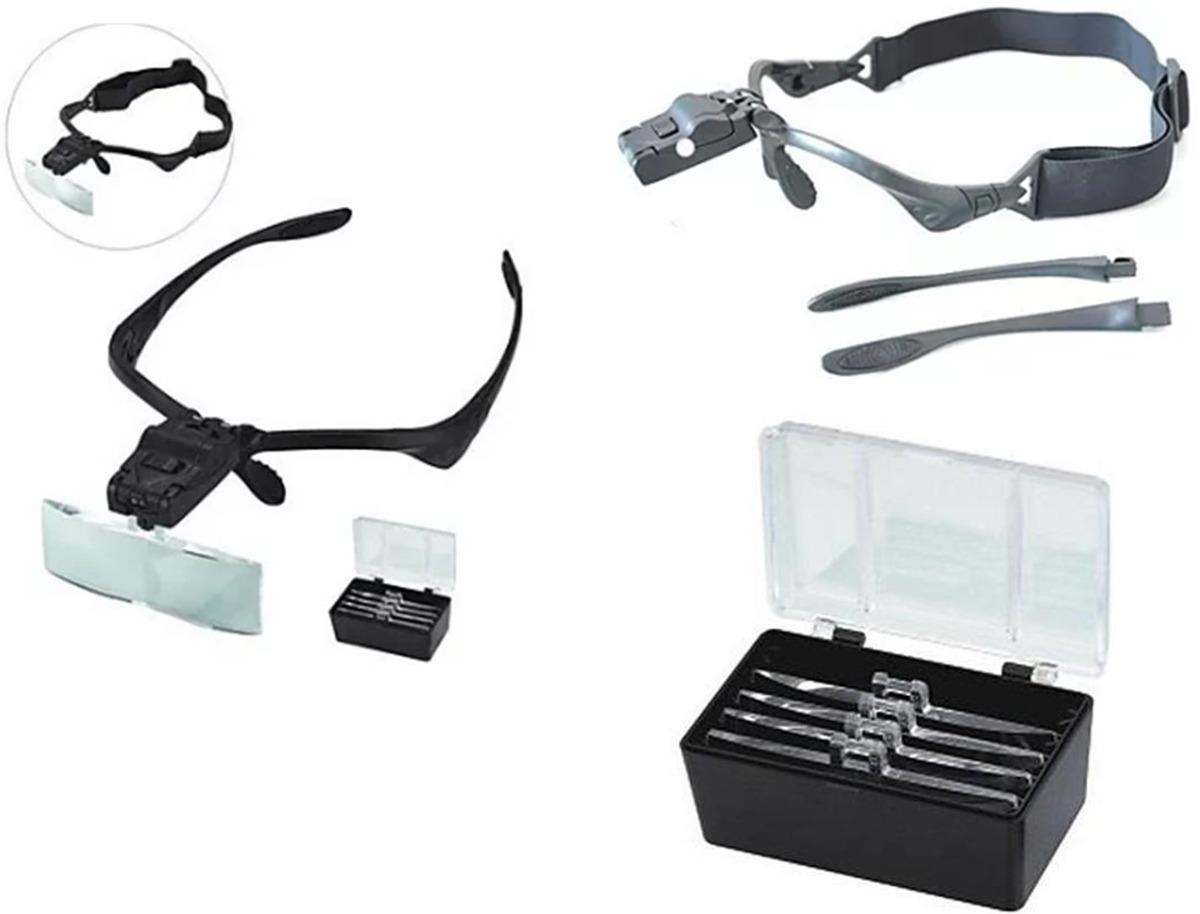 lupa de cabeça oculos profissional 5 lentes aumento luz led. Carregando  zoom. 561127c89f